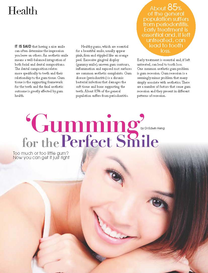 "Ezyhealth Magazine, August 2014 issue: ""Gumming for the Perfect Smile"""